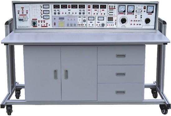 1.1. 电源及参数 1.1.1 输入电源:三相四线电源,输入时指示灯亮 1.1.2 电源输出:有保险丝和漏电保护开关二级保护功能。 A组:单、三相可调交流电源,提供三相0~430V连续可调的交流电源,同时可得到0~240V单相可调电源(配有一台1.5KVA的三相自耦调压器,配有三只指针式交流电压表,指示调压器输出电压)。 B组:低压交流电压3-24V分七档可调,最大输出电流1.